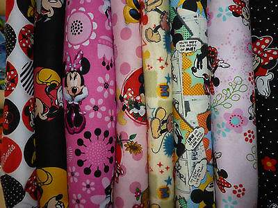 DISNEY MICKEY MOUSE/MINNIE MOUSE FABRIC FQ/FATQUARTER 100% COTTON craft/dress