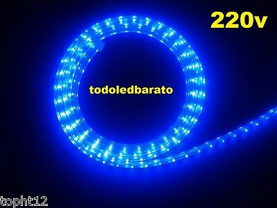 Tira led Flexible 60 leds SMD 5050 1m AZUL BLUE resistente al agua 220v IP68