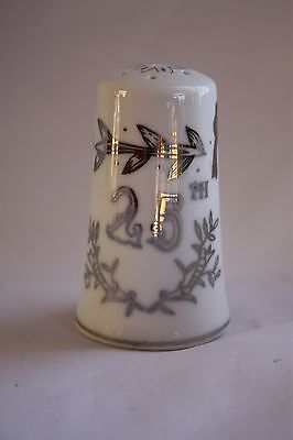 Lefton #1957 Silver & White 25th Anniversary Hand Painted Shaker