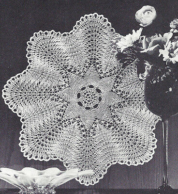Pattern to Make Vintage Knitted Lace Doily Centerpiece Mat Feather Fan Design