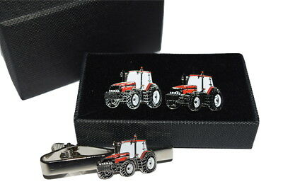 Case International Red Tractor Cufflinks & Tie Clip Set GIFT BOXED Enamel