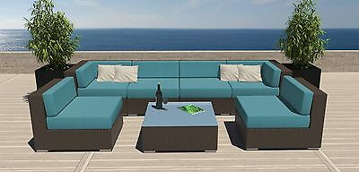 7 PC Modern Rattan Patio Set Outdoor All Weather Sectional Sofa Furniture Wicker