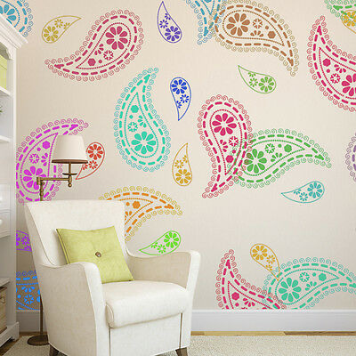 Paisley Stencil Pattern Reusable Wall Stencils For Diy Home