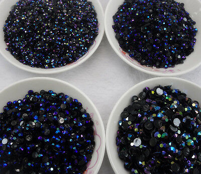 ss6 ss12 ss16 ss20 ss30 Jelly black AB lot facets resin Flat Back Rhinestones