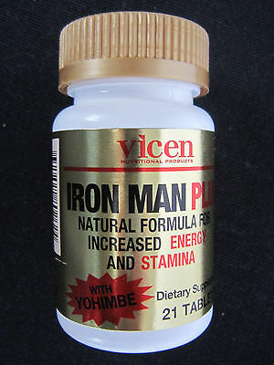 IRON MAN-Plus  With Yohimbe- Increased ENERGY & STAMINA - 21 tablets
