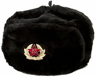 Authentic Russian Military KGB Ushanka Hat W/ Soviet Red Army Badge Included