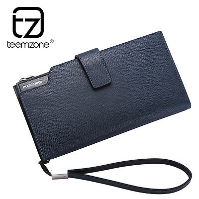 Men Clutch Wallet Genuine Leather Upscale Business Checkbook Purse Organizer