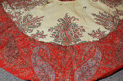 Antique Kashmir Paisley Shawl Victorian Cape From 19th Century
