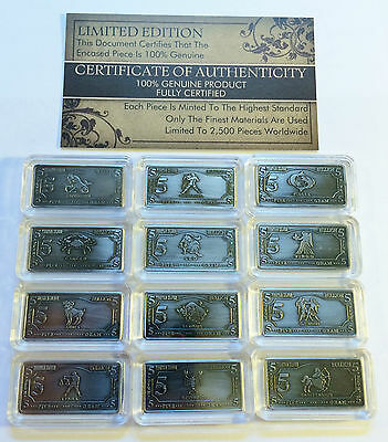 "Bargain Clearance Comp Set of 12 x 5 Gram Tibetan Silver ""Zodiac"" series Ingots"