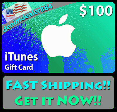 APPLE $100 US iTUNES GIFT CARD CERTIFICATE VOUCHER -FAST FREE WORLDWIDE SHIPPING