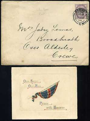 "1900 Christmas Card ""Our Hope Our Aim peace with Honour"""