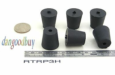"6 Rubber Stoppers - Laboratory Stoppers - Size 3 -- With Single Hole - ""Corks"""