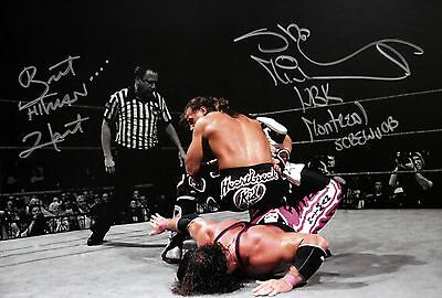 WWE HBK Shawn Michaels & Bret Hart Signed Mont. Screwjob Photo autograph JSA COA