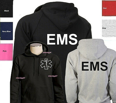 EMS Sweatshirt  Emergency Medical Services Hoodie SIZES S-3XL -Two Sides Print