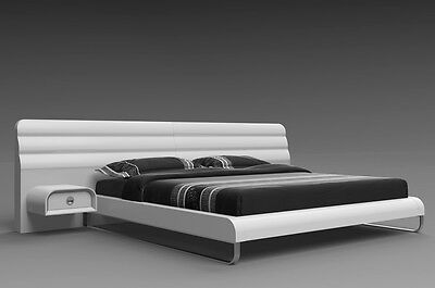 """76"""" W King bed Wall headboard w 2 nightstands White glossy Stainless steel base"""
