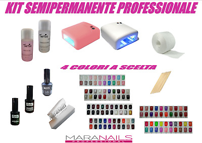 Semipermanente Kit Professionale Super Completo Lampada Uv Nail Art Con 4 Smalti