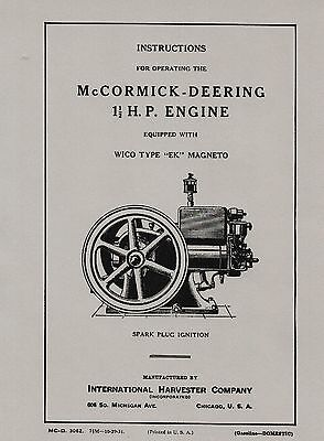 IHC McCormick Deering 1½ H.P. Operating Instructions