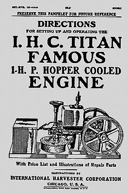 IHC Titan Famous 1 HP Hopper Cooled Engine Manual