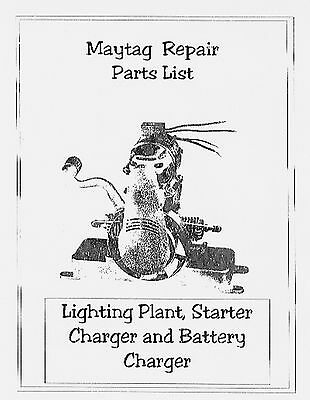 Maytag  Parts List - Light Plant - Battery Charger