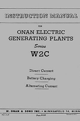 Onan Electric Generating Plant Instruction Manual