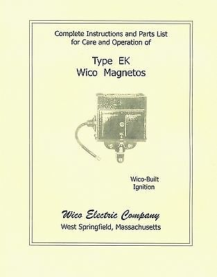 Wico Type EK Magneto Instructions and Parts List