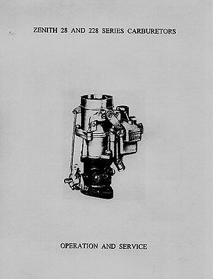 Zenith 28 and 228 Series Carburetor Service Instruction