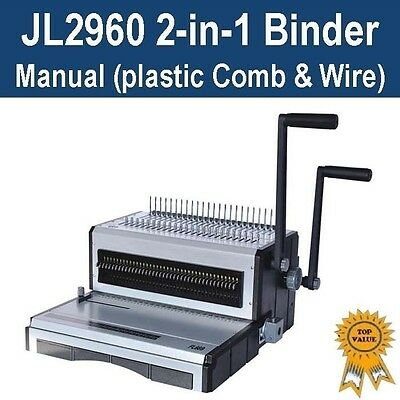 New Heavy Duty Plastic Comb & Wire 2-in-1 Binder / Binding Machine (JL2960)