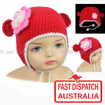 Kids Toddler Baby Crochet Knit  Animal Costume Party Hat Hood Beanie RED MOUSE