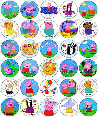 30 x Peppa Pig Party Collection Edible Rice Wafer Paper Cupcake Toppers