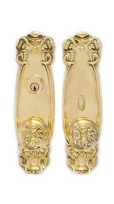 Art Nouveau  Entry Doorknob Set for modern security unlacquered or antiqued