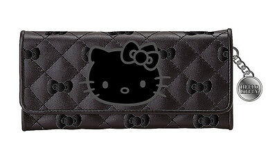 NEW AUTHENTIC SANRIO HELLO KITTY CREDIT CARD ID LONG WALLET black quilt