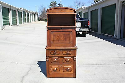 Fabulous Walnut Victorian Slant Front Desk with Tall Fancy Gallery Top ~Ca.1880