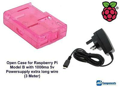 Raspberry Pi Case (Pink) for Model B Open with 1000ma Power-supply 3m Wire