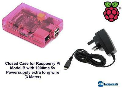 Raspberry Pi Case (Pink) for Model B Closed with 1000ma Power-supply 3m Wire