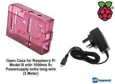 Raspberry Pi Case (Burgandy) for Model B Open with 1000ma Power-supply 3m Wire