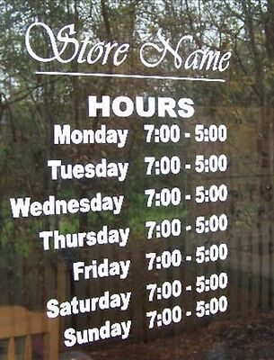 """Custom Business Store Hours Sign, Business Vinyl  Decal, Up To 12""""Hx18""""W outdoor"""
