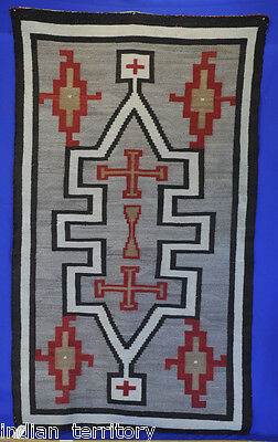 Unusual Navajo Crystal Region Rug with Multiple Cross & Whirling Logs 80x46 1910