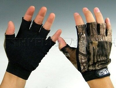 1 Pair 5 Finger Anti Slip Jungle Camo camouflage FISHING Gloves