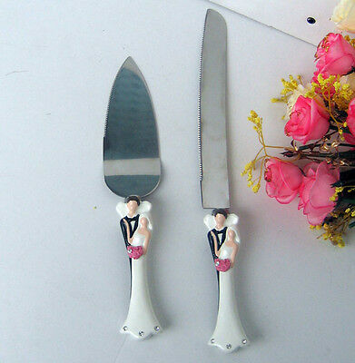 Bride Groom Wedding Anniversary Cake Knife Silver Server, engrave yourself