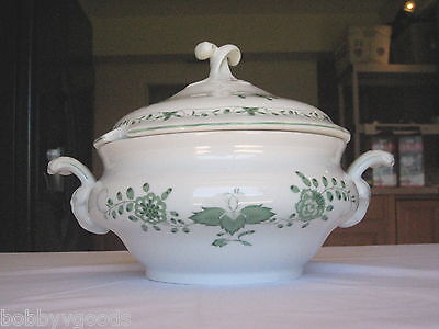 SMCS Tirschenreuth Bavaria GREEN FLORAL ON White Soup Tureen W/ LID MADE GERMANY
