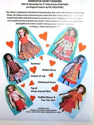 """NG Creations Sewing Pattern Homespun Fashions fits 9"""" Only Hearts Club Dolls"""