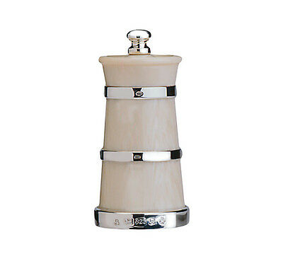 Silver &  Ivorine Pepper Mill / Pepper Grinder (Churn Shape)