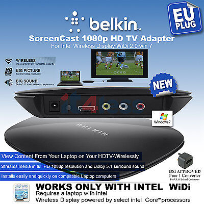Belkin ScreenCast 1080p HD TV Adapter for Laptops w/ Intel WiDi Wireless Display