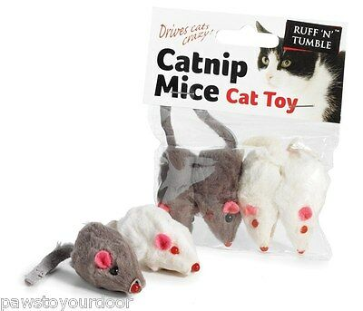 Catnip mouse cat toy pack 4 fur mice toys sharples'n'grant  ruff 'n'tumble