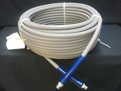 """100 ft 3/8"""" Gray Non-Marking 6000 psi Pressure Washer Hose HOT WATER STEAM 100'"""