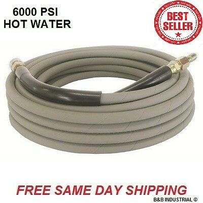 Non Marking Gray Pressure Washer Hose 50' w/o Couplers - 6000 PSI - Hot Water