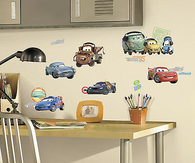 NEW - CARS 2 Disney Peel & Stick Wall Decals by RoomMates Kids Bedroom Stickers