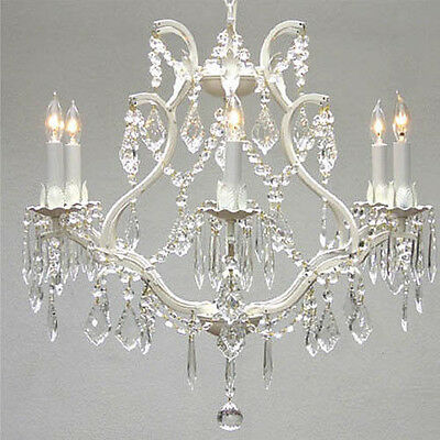 "White Wrought Iron Crystal Chandelier Lighting H 19"" W 20"""