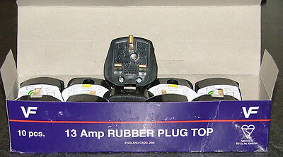 13amp HEAVY DUTY BLACK THERMOPLASTIC RUBBER PLUG  PACK OF 3 PLUGS