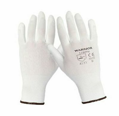 12 Pairs Work Gloves White New Pu Coated Builders Mechanic Construction Grip